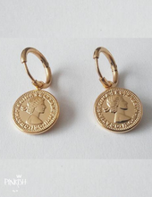 Load image into Gallery viewer, Golden Coin Huggies Earrings Little Hoops Stainless Steel