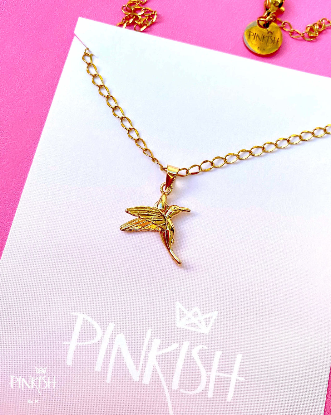14kt Gold Plated Hummingbird Spring Pendant Necklace Cute Bird Jewelry