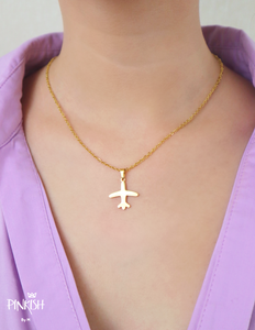 Jet Set Airplane Stainless Steel Necklace Dainty Pendant