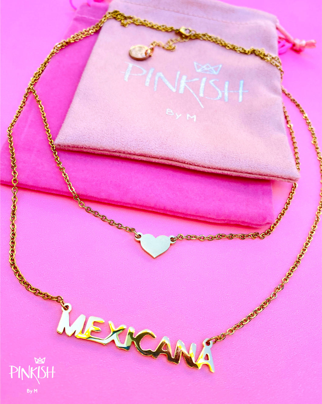 Heart Mexicana Double Layer Necklace Jewelry Cute Gold Stainless Steel