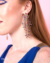 Load image into Gallery viewer, Summer Accessory Multicolor Fishbone Drop Fun Earrings Statement Piece Fashion