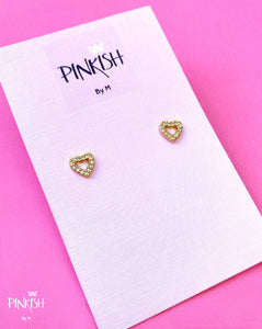 Open Diamonds Heart Stud Earrings