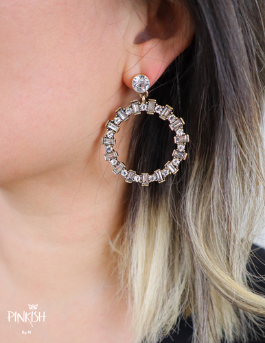Glam Night Hoops / Front Face Earrings / Shiny Sparkly Pendants