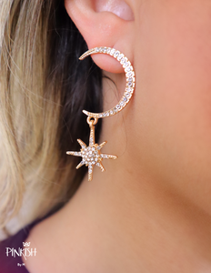 Shiny Zirconia Moon Star High Fashion Drop Pendant Earrings Date Night