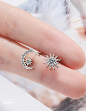 Load image into Gallery viewer, Sterling Silver Dainty Celstial Moon & Star Diamond Studs