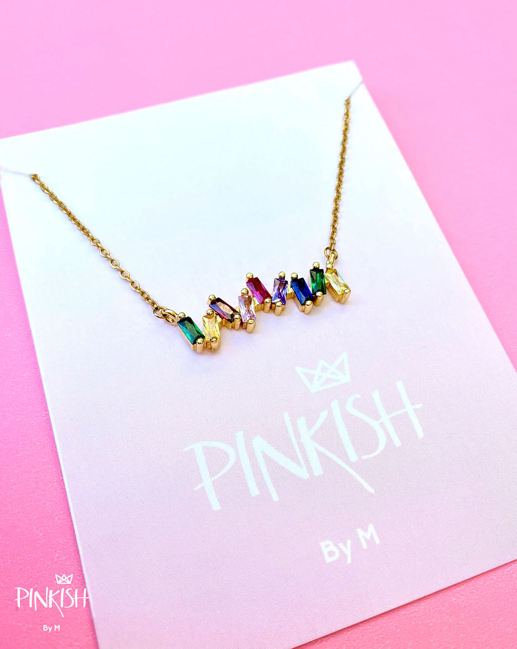 14kt Gold Plated Multi-Colored Rainbow Cubic Zirconia Bar Necklace