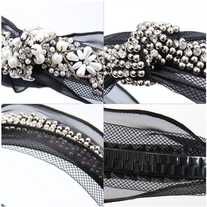 Black and white Lace Pearls Diamonds Elegant Classy Headband Princess Crown