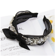 Load image into Gallery viewer, Black and white Lace Pearls Diamonds Bow Elegant Classy Headband Princess Crown
