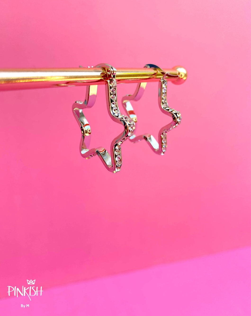 Shiny Sparkly Stars Hoop Earrings Stainless Steel