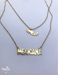 14k Gold Plated Mexicana Pendant Necklace Stainless Steel Mexico