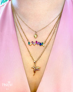 14kt Gold Plated Multi-Colored Rainbow Cubic Zirconia Bar Necklace Hummingbird Strawberry Spring