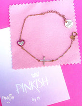 Load image into Gallery viewer, Dainty Sterling Silver Side Silver and Rose Gold Cross & Heart Bracelet