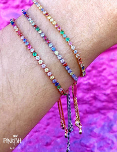 Adjustable Crystal Multicolor Rainbow Tennis Bracelet Gold Silver Rose Gold