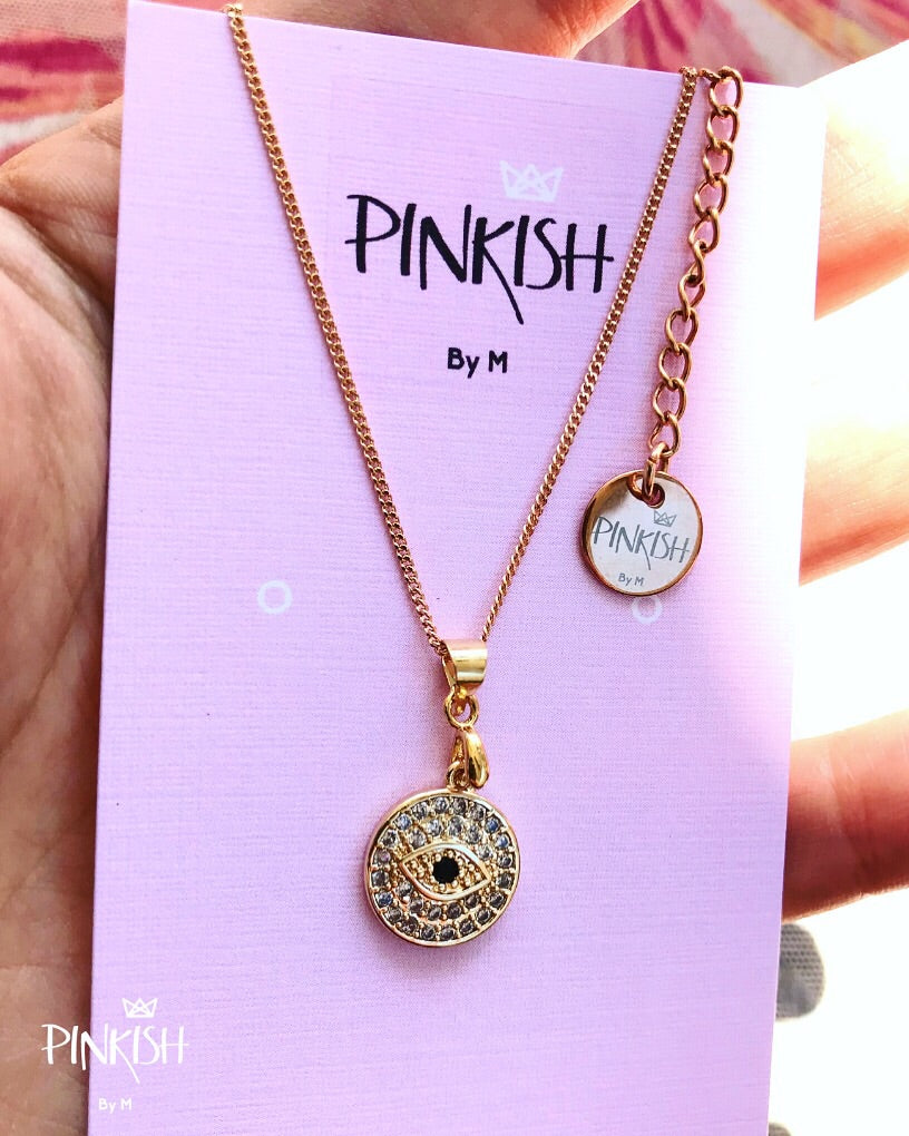 14K Shiny Round Evil Eye Necklace