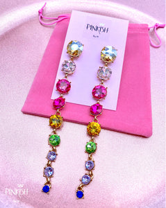 Rainbow Long Linear Drops of Color Gems Pendant Earrings