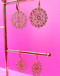 14K Gold Boho Chic Filigree Drop Earrings