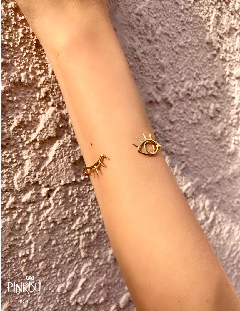 Gold Plated Stainless Steel Dainty Sexy Eye Wink Cuff Bracelet NO TARNISH