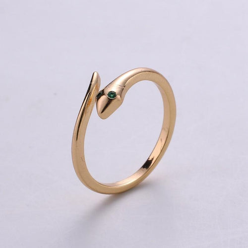 Green Eyed Snake Adjustable Ring