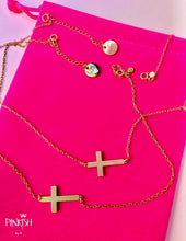 Load image into Gallery viewer, Sterling Silver Side Gold and Rose Gold Cross Necklace