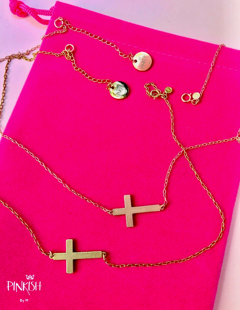 Sterling Silver Side Gold and Rose Gold Cross Necklace