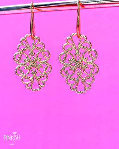 Gold Filigree Pendant Earrings Latin Boho Jewelry