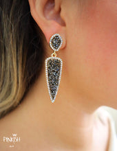"Load image into Gallery viewer, alt=""Elegant Black Shiny Crystals Pave Drop Earrings"""