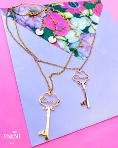 Stainless Steel Gold Rose Dream Key Necklace