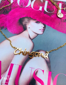 "alt=""Gold Chingona Latina Mexicana Cursive Nameplate Necklace Hypoallergenic Jewelry"""