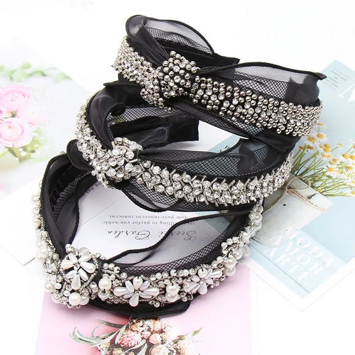 Lace Pearls Diamonds Beats Headband Black Silver Soft Comfortable Cute Elegant Princess Crown
