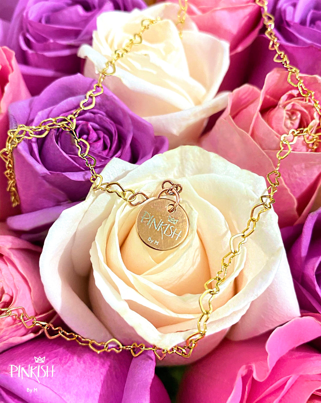 14K Gold Plated Linked Hearts Chain Choker