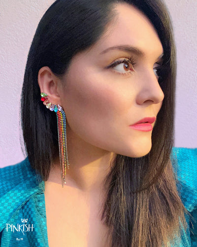 Friday Night Gem Ear Crawler Cuff Drop Earrings