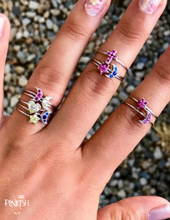 Load image into Gallery viewer, Sterling Silver Stackable fun colorful cross, heart, moon pave diamond rings