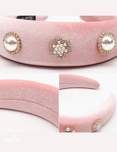 Oversized Velvet Padded Pearl & Diamonds Headbands