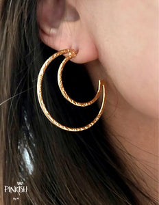 18K Gold Plated Cut Out Crescent Moon Hoop Earrings