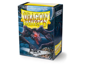 STANDARD SIZE, MATTE SLEEVE, BLACK, 100CT, DRAGON SHIELD