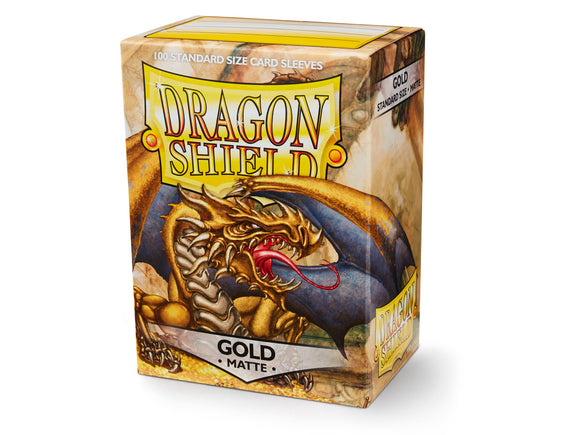 STANDARD SIZE, MATTE SLEEVE, GOLD, 100CT, DRAGON SHIELD