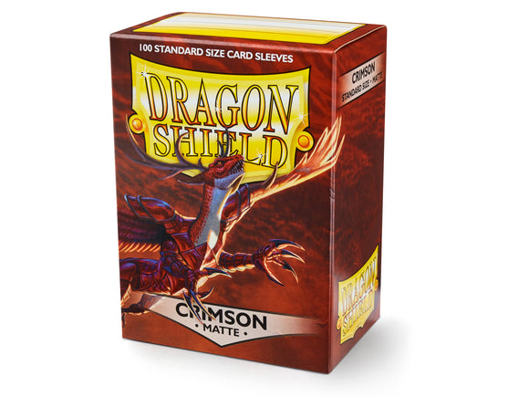 STANDARD SIZE, MATTE SLEEVE, CRIMSON, 100CT, DRAGON SHIELD