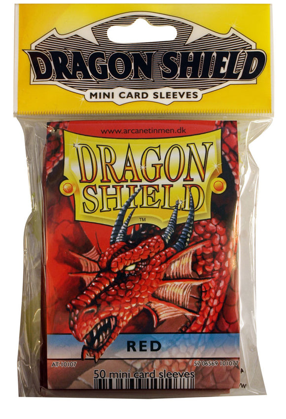 MINI SIZE, CLASSIC SLEEVE, RED, 50CT, DRAGON SHIELD