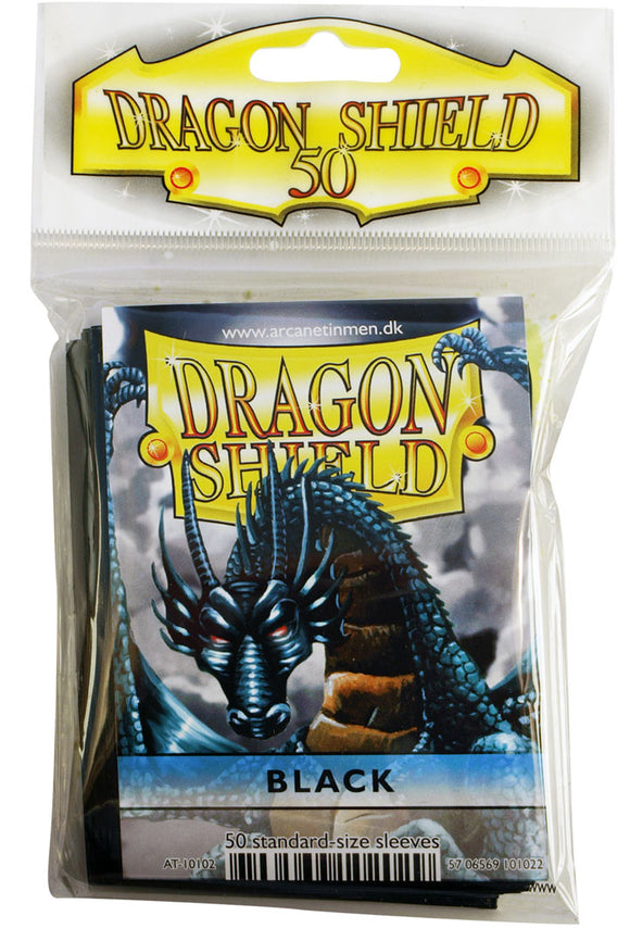 STANDARD SIZE, CLASSIC SLEEVE, BLACK, 50CT, DRAGON SHIELD