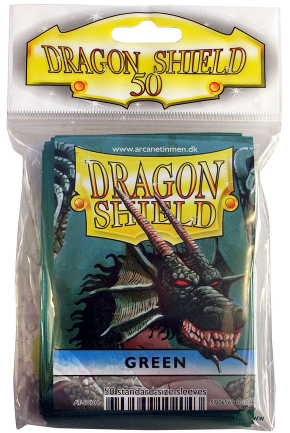 STANDARD SIZE, CLASSIC SLEEVE, GREEN, 50CT, DRAGON SHIELD