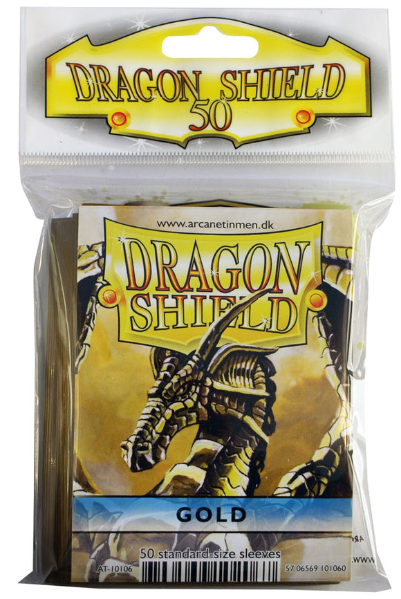 STANDARD SIZE, CLASSIC SLEEVE, GOLD, 50CT, DRAGON SHIELD