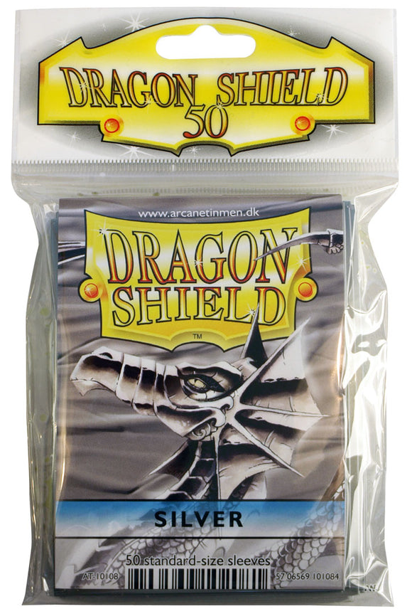 STANDARD SIZE, CLASSIC SLEEVE, SILVER, 50CT, DRAGON SHIELD