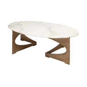 Reinhold III 48x30 Oval Marble Top Gold Metal Base Coffee Table