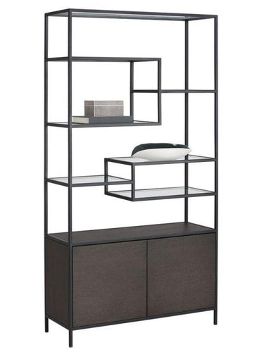 Stamos Bookcase - Black - Charcoal Grey