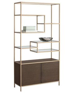 Stamos Bookcase - Gold - Raw Umber