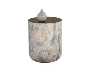 Diaz End Table - Marble Look - Antique Brass