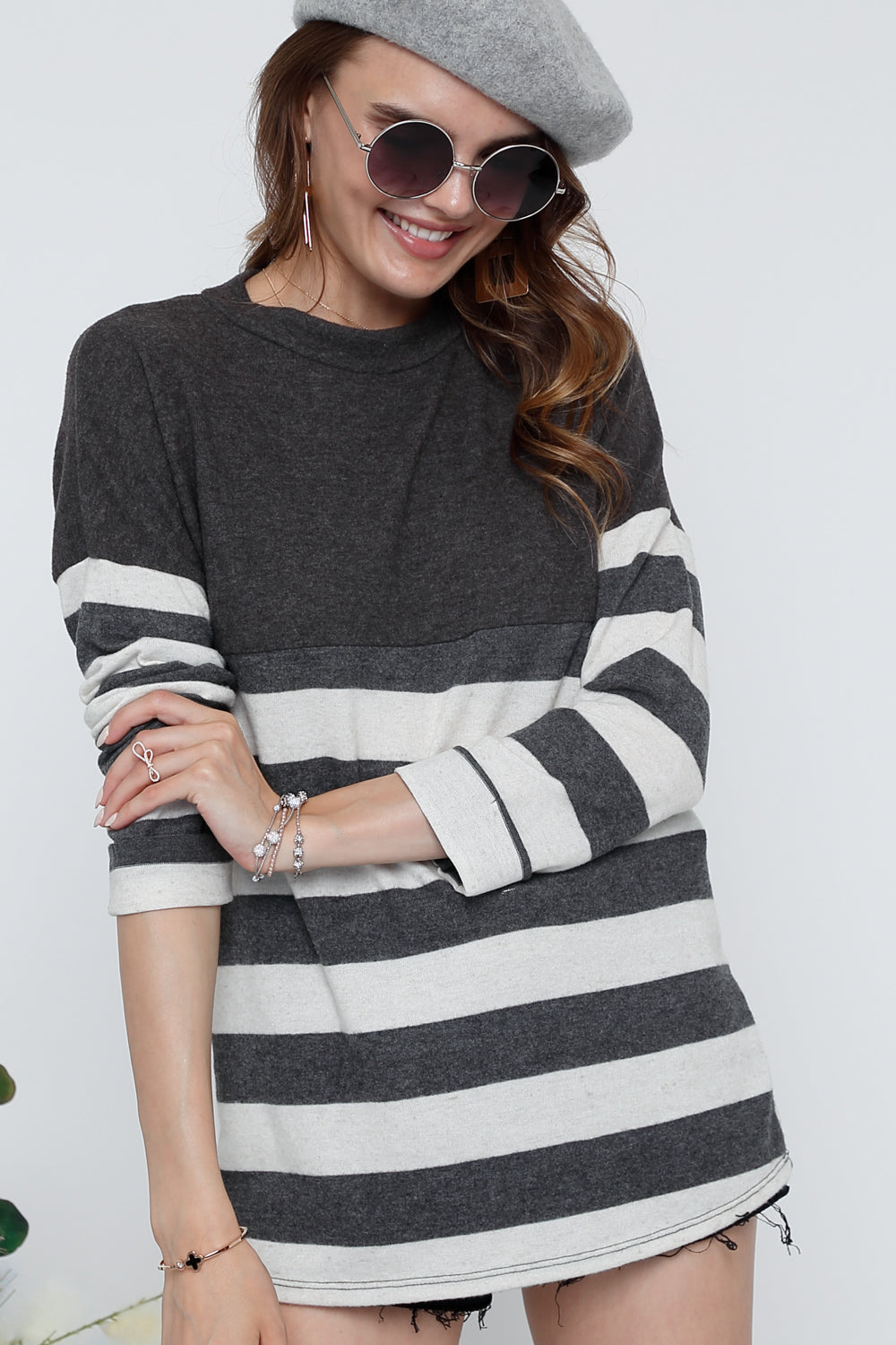 Cashmere Stripe Sweater - besties STUDIOS