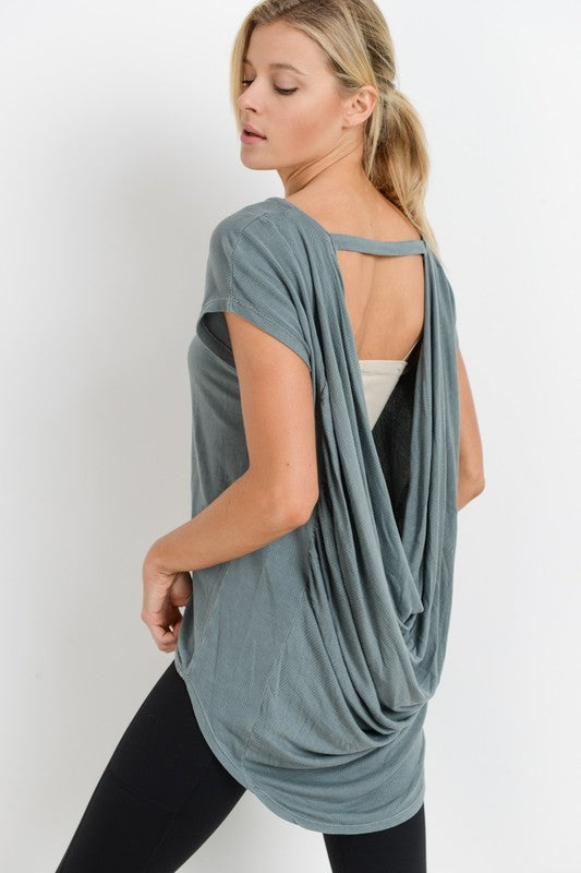 Cowl Back Mineral Wash Top - besties STUDIOS