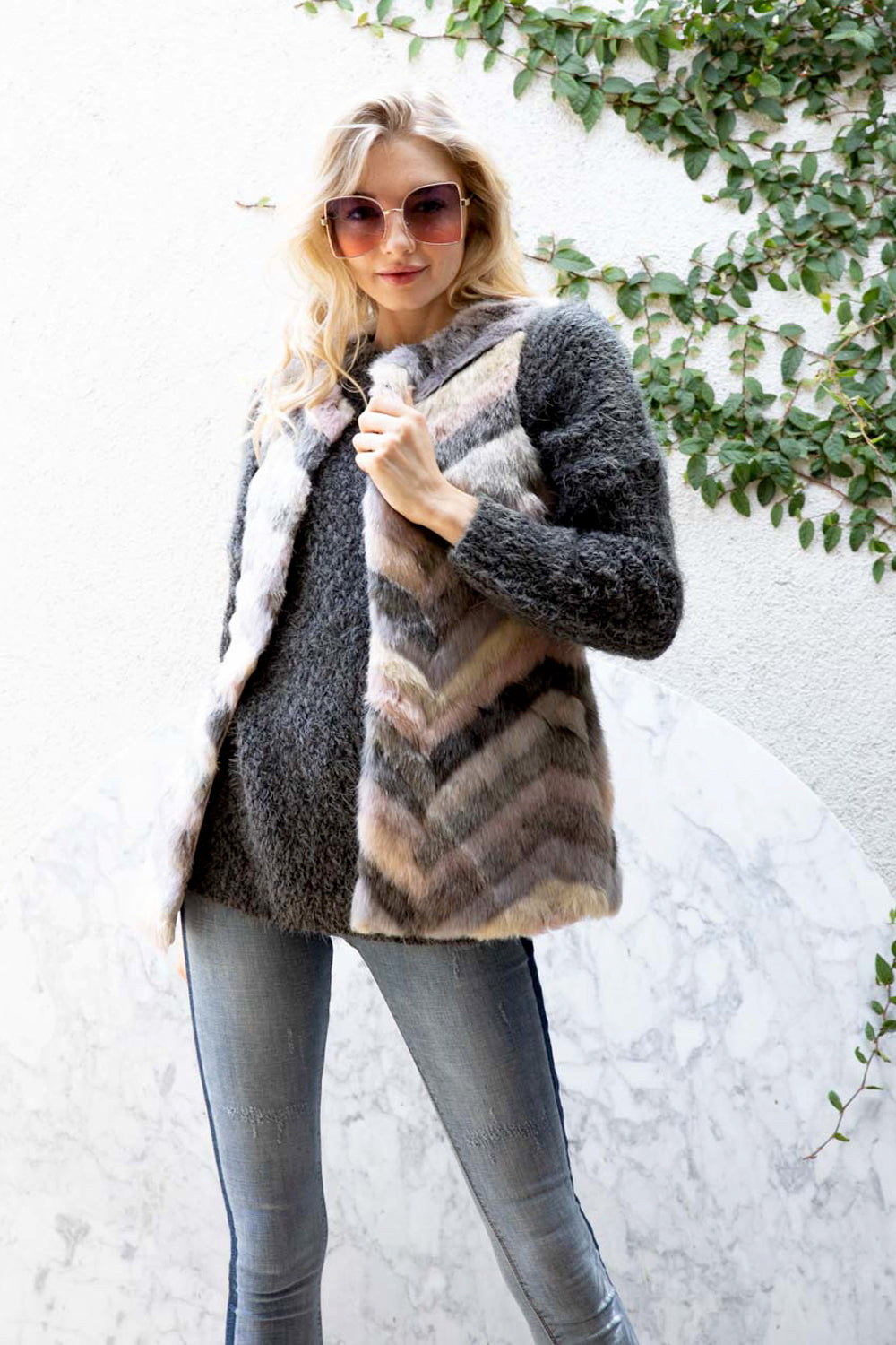 Chevron Blush Grey Faux Fur Vest - besties STUDIOS
