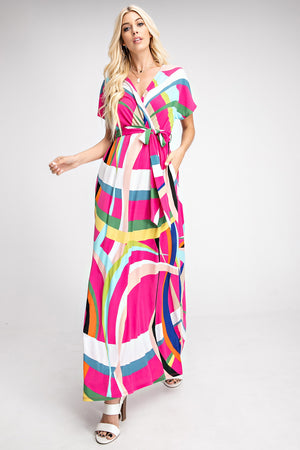 Short Sleeve Print Maxi Dress - besties STUDIOS